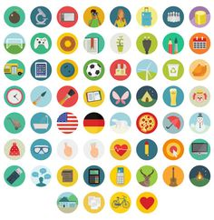Great set of flat icons by Round Icons. Round Icons have a 1000 Flat and unique vector icons, and have just released a free set of Flat Icons, Flat Design Icons, Icon Design, Web Design, Graphic Design, Flat Ui, Design Layouts, Icon Set, Ui Patterns