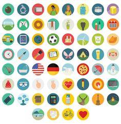 Un pack de 60 icônes Flat Design, Png, Svg, Eps, Psd et Ai