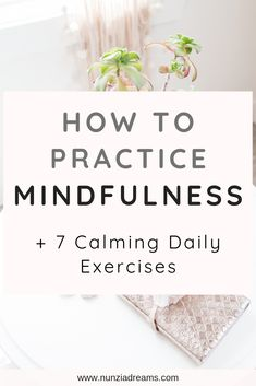 How to Practice Mindfulness + 7 Calming Daily Exercises When we practice mindfulness, we learn to slow things down in our busy digital age. Read on for 7 simple mindfulness exercises for adults! Mindfulness Techniques, Mindfulness Exercises, Mindfulness Activities, Mindfulness Practice, Mindfulness Meditation, Guided Meditation, Mindfulness Quotes, Anxiety Relief, Stress Relief