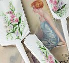 Vintage Home online shop - homewares Page 1 :  1930s Enamel Sweet Peas Grooming Set, Rare Exquisite 1930s Barbola Vanity Set, Antique Klein Roses Chocolate Box, Antique Hand Painted French Silk Box, Sailor's Valentine Shell Keepsake Box and 19th Century French Hand Painted Mirror.