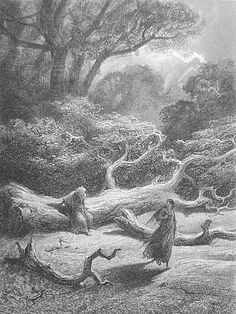 """Gustave Doré (1832-83). """"Vivien Encloses Merlin in the Tree."""" Illustrations to Tennyson's Idylls of the King."""