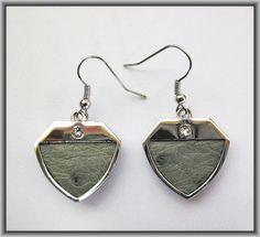 Ostrich leather crystal earrings - Mist OE10 Crystal Earrings, Drop Earrings, Pendant Necklace, Crystals, Leather, Jewelry, Jewlery, Jewerly, Schmuck