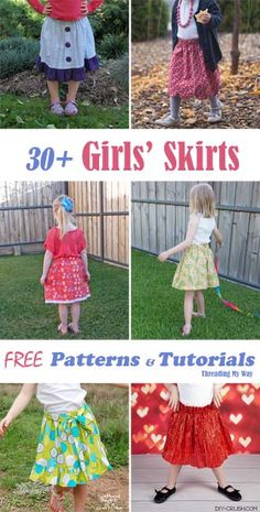 More than 30 free skirt patterns and tutorials, showing how to make different styles of skirts for girls of all ages. Threading My Way