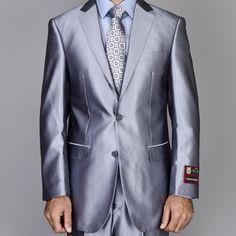 Giorgio Fiorelli Men's Silver Grey Shiny 2-Button Suit | Overstock.com