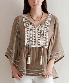Look what I found on #zulily! Mocha Crochet Lace Fly Away Crochet Lace Tunic #zulilyfinds