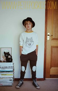 Petit Pois KIDS A/W 2013 for boys, fantastic wolf illustrated shirt, knee patch pants, the great hat, & converse shoes