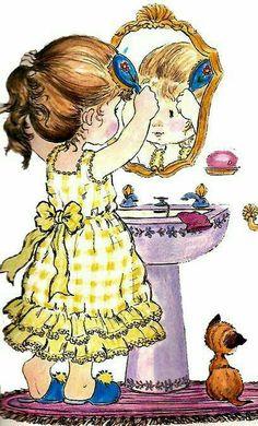 Creative Pictures, Old Pictures, Vintage Images, Vintage Art, Sara Kay, Heart Illustration, Vintage Drawing, Holly Hobbie, Heart For Kids