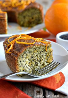 Orange Poppy Seed Cake - Super moist and full of orange and poppy seeds - this cake is delicious!