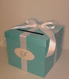 Caja de tarjeta de boda azul regalo caja dinero por bwithustudio