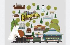 Fort Edmonton Park installation at Edmonton International airport by illustrator Jason Blower International Airport, Mid-century Modern, Illustrator, Whimsical, Mid Century, Park, Parks, Medieval