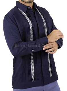 Premium Keten   Linen & Cotton Guayabera. Long-Sleeved, Hand pattern Embroidered with GreySilk Thread, basic collar, button cuffs, hidden buttoned front and knitted Pleats. Made 100%...