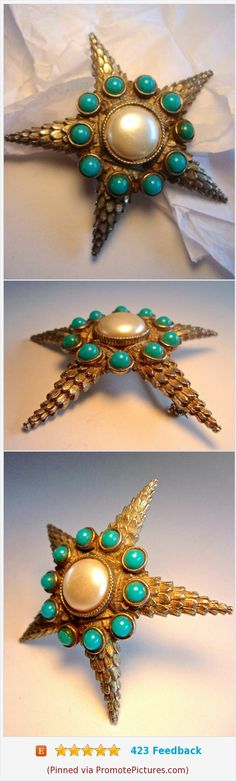 Starfish or Star Unsigned DeNicola Brooch, Domed, Faux Turquoise Pearl, Vintage #vintage #brooch #starfish #star #turquoisebeads #fauxpearl #unsigneddenicola #sealife https://www.etsy.com/RenaissanceFair/listing/559454914/starfish-or-star-unsigned-denicola?ref=listings_manager_grid  (Pinned using https://PromotePictures.com)
