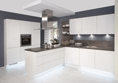 white gloss kitchen with grey worktops - Google Search