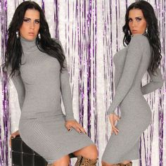 Poolokauluksinen ribbimekko - Mekot ja hameet - Mekot - Jeans.fi High Neck Dress, Bodycon Dress, Dresses With Sleeves, Long Sleeve, Sweaters, Fashion, Turtleneck Dress, Moda, Body Con