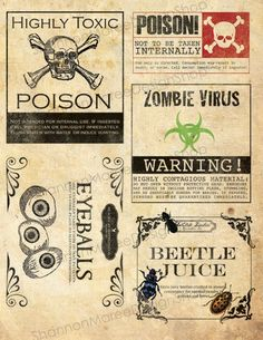 Halloween apothecary labels! I love em!
