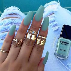 A manicure is a cosmetic elegance therapy for the finger nails and hands. A manicure could deal with just the hands, just the nails, or Best Acrylic Nails, Acrylic Nail Designs, Coffin Nails Matte, Matte Nail Polish, Gel Polish, Acrylic Summer Nails Coffin, Perfect Nails, Gorgeous Nails, Blue Nails