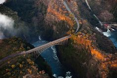 size: Photographic Print: Bridge over the Zambezi River Gorge at Victoria Falls from the Air by : Victoria Falls, Beach Landscape, Any Images, Galaxy Wallpaper, Bridge, Scenery, River, Stock Photos, Explore
