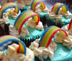 These also look AMAZING! There seem to be many, many rainbow desserts...what else could be served at a launch party? I feel like I need some colourful options from other food groups, too. Ideas? #rainbowconnection