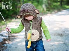 PATTERN - Banana Monkey Vest - Crochet PDF Pattern for 4 sizes by IRAROTTpatterns on Etsy https://www.etsy.com/listing/108963861/pattern-banana-monkey-vest-crochet-pdf