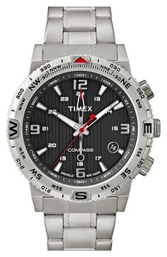 Timex® 'Intelligent Quartz - Adventure Compass' Bracelet Watch, 42mm available at #Nordstrom