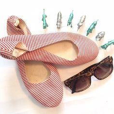Striped Espadrilles Adorable red & off-white striped espadrilles. Excellent condition. Size 8 Le Crabe Rouge Shoes Espadrilles
