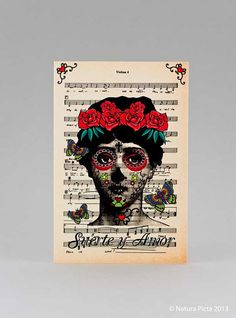 Tattooed lady mexican skull woman suerte y amor by naturapicta, $4.50