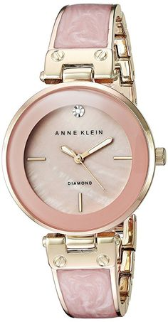 Anne Klein Women's AK/2512LPGB Diamond-Accented Gold-Tone and Blush Pink Marbleized Bangle Watch