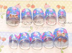 Fake nails prom sweet lolita oshare kei gyaru blue by Aya1gou