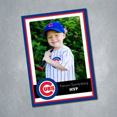 $15 Chicago Cubs (and MLB team) Custom Baseball Card Birthday Invitation. Two sided Digital File. || Etsy Shop: MeghansView
