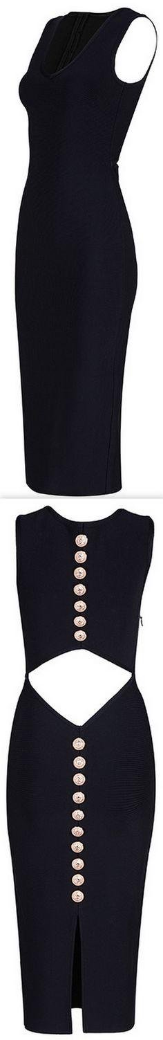 Gold Lion Button-Embellished Bodycon Midi Dress, Black