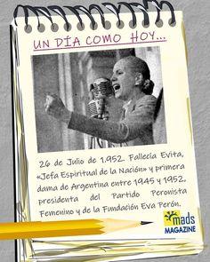 De aquella mujer sólo sabemos que el pueblo la llamaba, cariñosamente, Evita. #UnDiaComoHoy Fallecía en Buenos Aires #EvaPerón #EvitaEterna #EvitaInmortal #EvitaVive #EfemeridesDeHoy