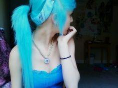 Scene Girl With Blue Hair | blue bandana, blue hair, cute, emo girl , girl