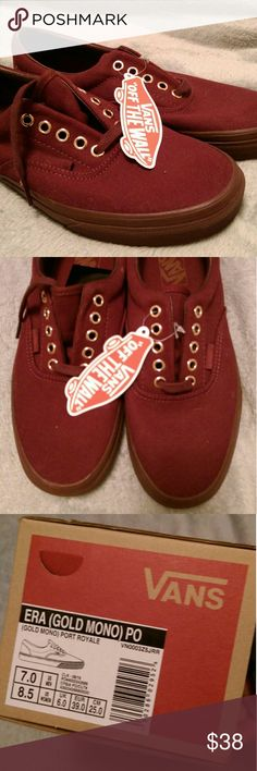 Maroon Vans brand new with tags and box Bought these and I should have taken a smaller size. Bought them at the vans store for $60. Never worn or laced. All original packing. Beautiful maroon color with gold eye hooks. Vans Shoes Sneakers