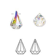 Drop, Swarovski crystal, Crystal Passions®, crystal AB, 14x9mm Xirius raindrop pendant (6022). Sold individually. Bright Stars, Rain Drops, First They Came, Stones And Crystals, Swarovski Crystals, Abs, Pendant, Pencil, Glitter Stars