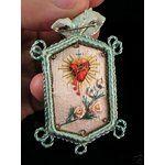 eBay Image 1 Antique Sacred Heart Embroidered Detente, Lot # 2