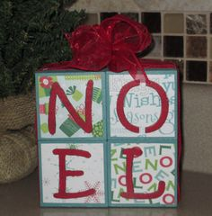 christmas wooden blocks | NOEL Stacked Wooden Blocks Christmas Holiday by WyliesWhimsicals
