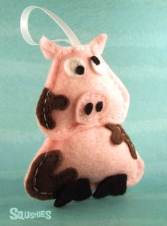 Felt  Pig, Christmas Ornament, Felt Animal Ornament - Sir Francis the Pig. $17.00, via Etsy.