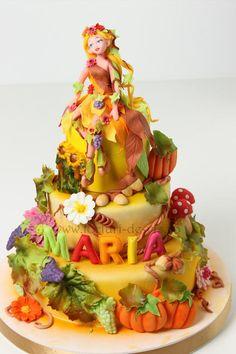 Autumn fairy - Cake by Viorica Dinu Gorgeous Cakes, Amazing Cakes, Bithday Cake, Woodland Cake, Fantasy Cake, Autumn Fairy, Garden Cakes, Pumpkin Dessert, Pumpkin Cheesecake