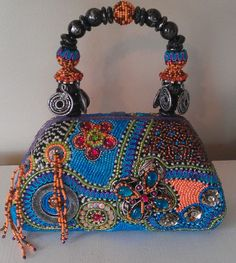 Mary Frances Handmade Beaded Bag Hard Body Turquoise Multi Color