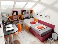 dormitorio juvenil, cama compacta con contenedores,librería y zona de estudio