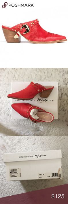 Kate Bosworth Matisse Judith Mule Red 8.5 Brand new with box. Kate Bosworth Judith mule. Red. Size 8.5 (They run big and I think they fit more like a 9). 2.5 inch heel. Padded footbed. Super comfortable. Matisse Shoes Mules & Clogs