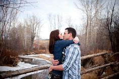 Winter engagement photography session, Bozeman, Montana. www.merissalambert.com
