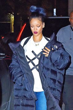Down jackets get an XL-sized thumbs up from Rihanna.