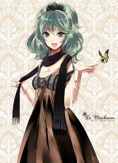 Lovely anime fashion. I really like the torso of the dress, and how it then flows into a black and brown. Also a very nice touch with the scarf.