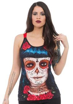 Inked Boutique - Deadly Dame Fashion Tank Top Day of the Dead Girl www.inkedboutique.com