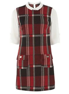 red check 2in1 pinny dress/ dorothy perkins