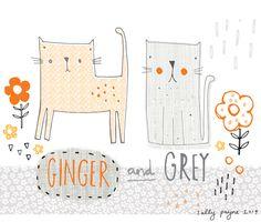 Illustration Cats Gingerandgrey-sallypayne