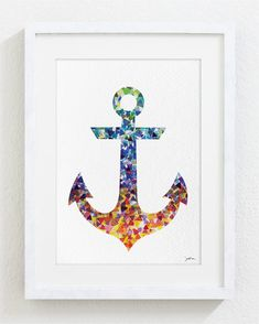 Anchor Watercolor Print - 5x7 Archival Fine Art Print - Gift, Wall Decor, Home Decor, Housewares