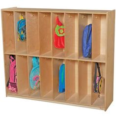 Wood Designs' Coat Locker offers generous classroom storage within a small footprint. This two-tier unit features 16 cubbies, each with a double hook for coats and backpacks. It's constructed of beautiful Baltic birch plywood with safe, rounded edges and an eco-friendly clear UV finish. Wood Design