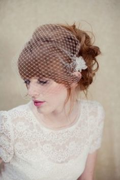 Bandeau birdcage veil. Love the lace dress as well.